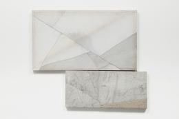 Martha Tuttle. Basin, 2019. Wool, linen, graphite, ultramarine ash, rock crystal, quartz, steel, 23 x 40 inches; 32 x 14 inches.