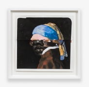 Erica with the Pearl Earring, 2015.Black charcoal, gouache, soft pastel, oil pastel, oil paint, paint stick, silver oil pastel on Coventry Vellum Paper, 31 x 31.75 inches, framed.