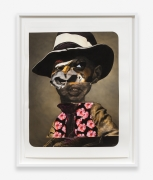 Charles Re-visited, 2015.Black charcoal, soft pastel, oil pastel, paint stick, gouache on Coventry Vellum Paper, 56.25 x 44 inches, framed.