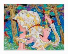 Gladys Nilson.Classic in the Woods,2017. Acrylic and paper collage on canvas,26.125 x 48 inches.