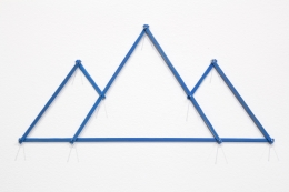 Everest, 2009. Eight pieces of painted wood, pencil texts, nails. 8 1/2 x 18 1/4 inches.