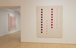 Large Dots pink warm red painting