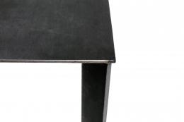 Artist Made Industrial Steel Pedestal Stand by Robert Koch, Close Up of Corner