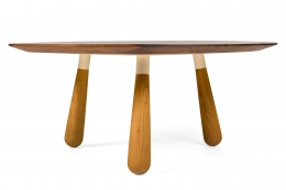Walnut and Oak Round Coffee Table by Oluf Lund, Side View