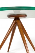 Italian Glass and Mahogany Round Occasional Table in the Manner of Pietro Chiesa, Close Up Bottom View Cropped