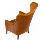 Steen Eiler Rasmussen Asymmetrical Leather Armchair for AJ Iverson, 3/4 Back