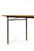 Finn Juhl Model BO69 Nyhavn Teak Desk with Extension for Bovirke, Close Up Side View Cropped