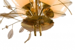 Paavo Tynell Model 9029/4 Brass & Glass Floral Chandelier for Taito Oy