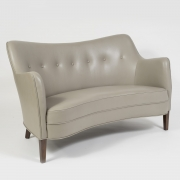 """Scandinavian Mid-Century Nanna Ditzel """"Allé Sofa"""" Reupholstered in Leather, 3/4 View"""