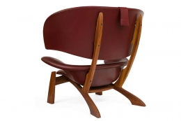 """Viking"" Lounge Chair & Ottoman in Walnut & Leather"