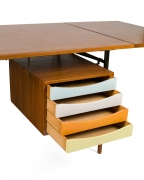 Finn Juhl Model BO69 Nyhavn Teak Desk with Extension for Bovirke, Close Up Drawers Opened