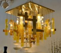 Sciolari Brass & Murano Glass Flush Mount Ceiling Fixture