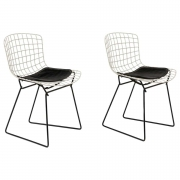 Harry Bertoia Child's Chairs in White with Original Knoll Seat Pads, USA, 1960s