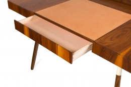 "Walnut and Leather ""Missboss Desk"" by Oluf Lund for Lop, Opened Drawer"