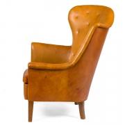 Steen Eiler Rasmussen Asymmetrical Leather Armchair for AJ Iverson, Side