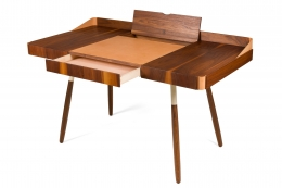 "Walnut and Leather ""Missboss Desk"" by Oluf Lund for Lop, Drawers Opened View"