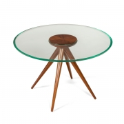 Italian Glass and Mahogany Round Occasional Table in the Manner of Pietro Chiesa, 3/4 Top View