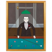 """Billiard Player"" Oil on Canvas by Shigeo Okumura, Signed OKU"