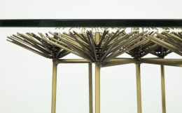 Brutalist Gilt Floral Table with Glass Top in the Manner of Seandel or Jere, Close Up Flower Detail