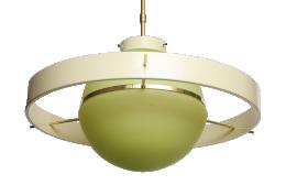 Green Glass Midcentury Satellite Pendant Light