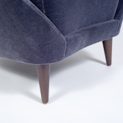 Pair of Gray Mohair Mid-Century Italian Style Lounge Chairs