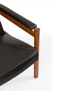 Fritz Hansen Teak Wing Chair & Ottoman by Soren Hansen