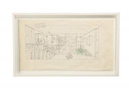 """Gio Ponti Architectural Drawing """"Schizzo d'interni di Villa Caracas"""""""
