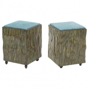 Phillip Lloyd Powell Painted Hand Carved Stools with Abstract Patterned Textile