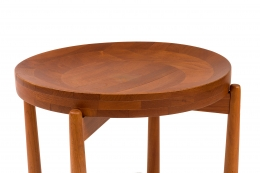 Jens Quistgaard Style Teak Tray Table, Close Up 3/4 View