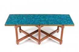 Dunbar Murano Glass Tile Top Coffee Table by Edward Wormley, 3/4 Top View