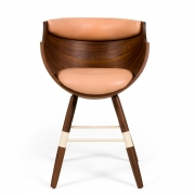 """Walnut and Leather """"Zun"""" Dining or Conference Chair by Lop Furniture, front view"""