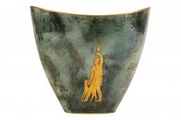 Arrigo Finzi Greco-Roman Motif Gold Porcelain Vase for Oro Zecchino