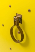 Tommy Parzinger Yellow Lacquered Studded Two Door Cabinet