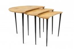 Aldo Tura Goatskin Crescent Nesting Tables, Angle 1
