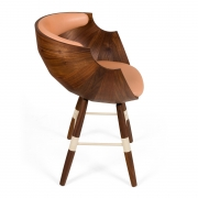 """Walnut and Leather """"Zun"""" Dining or Conference Chair by Lop Furniture, side view"""