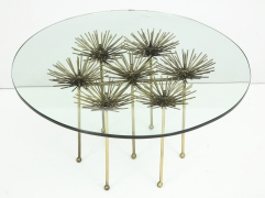 Brutalist Gilt Floral Table with Glass Top in the Manner of Seandel or Jere, 3/4 Top View