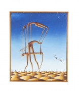 """Surrealist Painting """"Party on Rubber Beach"""" by George Broe"""