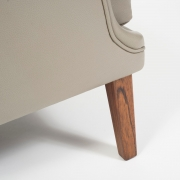 Pair of Arne Vodder Leather Lounge Chairs by Ivan Schlechter. Close Up Leg 1