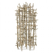 """Primitive Cathedral lll"" Newsprint Wrapped Wire Sculpture by Matteo Naggi"