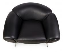Black Leather Lounge Chair by Illum Wikkelsø, 3