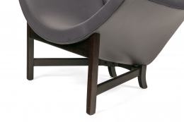 Adrian Pearsall Black Leather Coconut Chair, Close Up of Legs