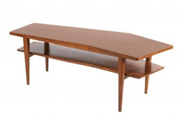 Walnut Coffee Table in the style of Bertha Schaefer for Singer & Sons, 3/4 Top View