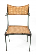 "Dan Johnson Patinated Bronze and Cane ""Gazelle' Chairs"