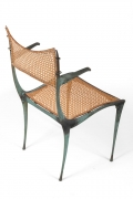 "Dan Johnson Patinated Bronze & Cane ""Gazelle' Chairs"