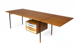 Finn Juhl Model BO69 Nyhavn Teak Desk with Extension for Bovirke, 3/4 View