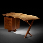 Mira Nakashima Conoid Desk in Indian Laurel, American Walnut & Myrtle Burl