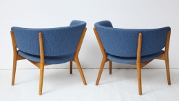 Nanna Ditzel ND83 Lounge Chairs Upholstered in Blue Fabric, 6
