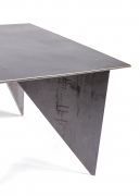 Artist Made Architectural Steel Table by Robert Koch, Side View Cropped