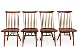 "George Nakashima Set of Four Walnut and Oak ""New Chairs"""
