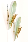Murano Variegated Green & Gold Glass Sconces